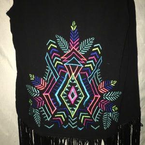 Xhilaration Jackets & Coats - Xhilaration Festival Black Fringe Vest size xs